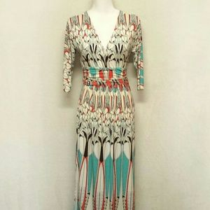 Boston Proper Feather Maxi Dress Quarter Sleeve 6